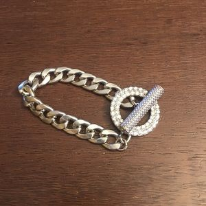 Jewelry - Thick Silver & Rhinestone Toggle Bracelet
